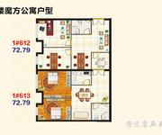 1#约73㎡魔方公寓户型